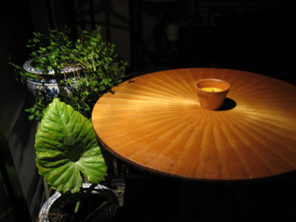The finished table in evening light.