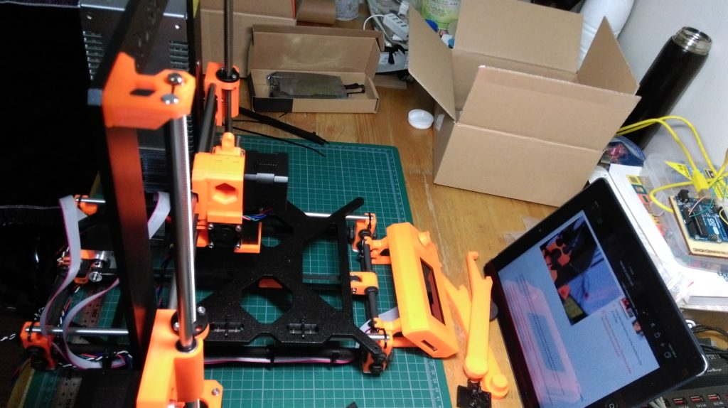 Prusa Mk2 3D Printer. Following the online instructions.