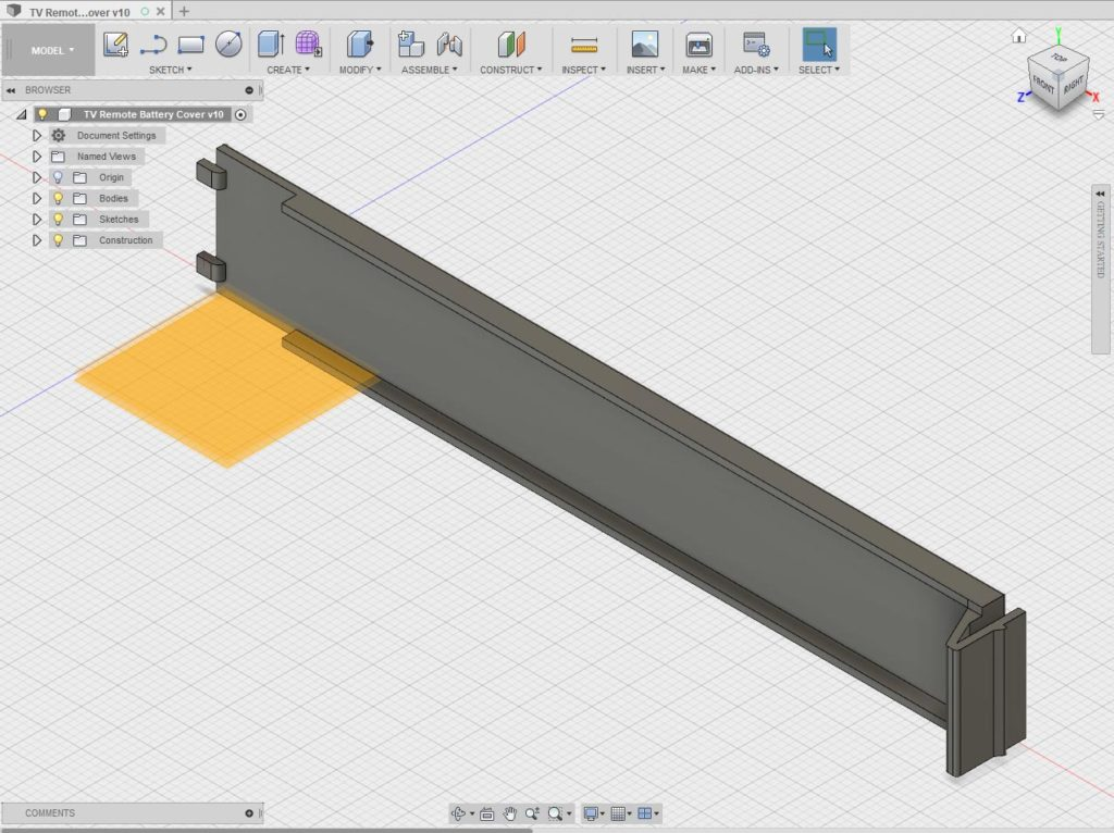 TV remote battery cover design in Fusion 360