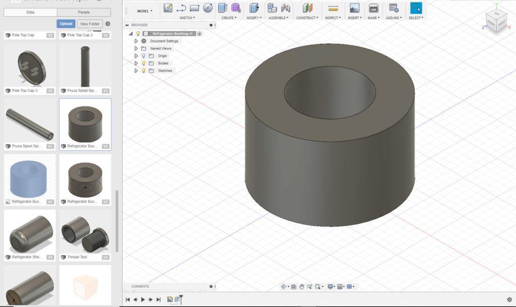 Bushing designed up in Fusion 360.